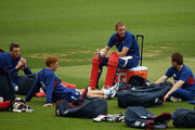 Stuart Broad of England looks on with Jos Buttler, Jonny Bairstow and Eoin Morgan during an England nets session at The Kia Oval on June 18, 2013 in London, England.