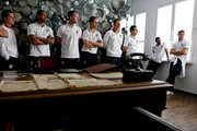 (L - R) Scott Parker, Glen Johnson, John Terry, Jordan Henderson, Phil Jones, Stewart Downing, Ashley Cole and Steven Gerrard during a visit by an England Football Association delegation to the Schindler Factory, ahead of Euro 2012, on June 8, 2012 in Oswiecim, Poland.