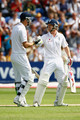 Kevin Pietersen and Paul Collingwood of England shake hands during day one of the npower 1st Ashes Test Match between England and Australia at the SWALEC Stadium on July 8, 2009 in Cardiff, Wales.