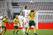 (CHINA OUT) Jill Scott #6 of England and Emily van Egmond #10 of Australia compete for the ball in the match between England and Australia during the 2015 Yongchuan Women's Football International Matches at Yongchuan Sports Center on October 27, 2015 in Yongchuan, Chongqing of China.