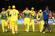 Pat Cummins of Australia celebrates with his team-mates after taking the wicket of Chris Woakes of England during the 2nd Royal London One-Day International match between England and Australia at Lord's Cricket Ground on September 5, 2015 in London, United Kingdom.