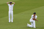 Kevin Pietersen (R) and Paul Collingwood of England look dejected as the ball rolls to the boundary during day three of the npower 2nd Ashes Test Match between England and Australia at Lord's on July 18, 2009 in London, England.