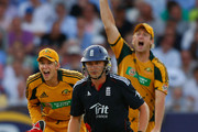 England batsman Luke Wright looks on in despair as wicketkeeper Tim Paine and Cameron White celebrate his wicket during the 4th NatWest ODI between England and Australia at The Brit Oval on June 30, 2010 in London, England.