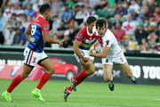 Stefan Ratchford of England is tackled during the 2017 Rugby League World Cup match between England and France at nib Stadium on November 12, 2017 in Perth, Australia.