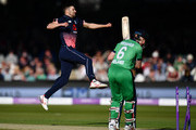 Mark Wood of England celebrates taking the wicket of William Porterfield of Ireland during the Royal London One Day International between England and Ireland at Lord's Cricket Ground on May 7, 2017 in London, England.
