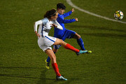 Jill Scott of England shoots during the FIFA Women's World Cup Qualifier between England and Kazakhstan at Weston Homes Community Stadium on November 28, 2017 in Colchester, England.