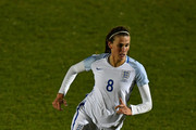 Jill Scott of England controls the ball during the FIFA Women's World Cup Qualifier between England and Kazakhstan at Weston Homes Community Stadium on November 28, 2017 in Colchester, England.
