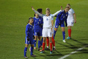 Jill Scott of England awaits the ball to be played during the FIFA Women's World Cup Qualifier match between England and Kazakhstan at the Weston Homes Community Stadium on November 28, 2017 in Colchester, England.