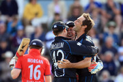Eoin Morgan of England is caught behind by Brendon McCullum of New Zealand off the bowling of Grant Elliott during the 2nd Natwest Series ODI at the Ageas Bowl on June 2, 2013 in Southampton, England.