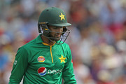 Shoaib Malik of Pakistan looks downcast as he walks from the field after being dismissed during the 2nd One Day International at Lord's Cricket Ground on August 27, 2016 in London, England. (Photo by Sarah Ansell/Getty Images).
