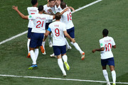 John Stones of England celebrates with teammates after scoring his team's first goal during the 2018 FIFA World Cup Russia group G match between England and Panama at Nizhny Novgorod Stadium on June 24, 2018 in Nizhny Novgorod, Russia.