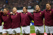 Dylan Hartley, Chris Ashton, Alex Goode, Brad Barritt and Owen Farrell of England line up prior to the RBS Six Nations match between England and Scotland at Twickenham Stadium on February 2, 2013 in London, England.