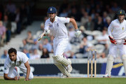Alastair Cook of England scores a run from the bowling of Imran Tahir of South Africa during day one of the 1st Investec Test match between England and South Africa at The Kia Oval on July 19, 2012 in London, England.