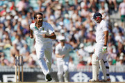 Imran Tahir of South Africa celebrates taking the final wicket of James Anderson of England and winning the match during day 5 of the 1st Investec Test Match between England and South Africa at The Kia Oval on July 23, 2012 in London, England.