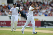 Imran Tahir of South Africa celebrates dismissing Matt Prior of England during day four of the 2nd Investec Test match between England and South Africa at Headingley on August 5, 2012 in Leeds, England.