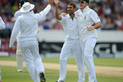 Imran Tahir of South Africa celebrates with Hashim Amla and Graeme Smith dismissing Matt Prior of England during day four of the 2nd Investec Test match between England and South Africa at Headingley on August 5, 2012 in Leeds, England.