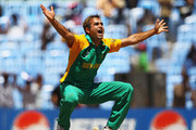 Imran Tahir of South Africa appeals for the wicket of Stuart Broad of Englan, after bowling himfor LBW during the 2011 ICC World Cup match between England and South Africa at M. A. Chidambaram Stadium on March 6, 2011 in Chennai, India.