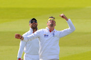 Kevin Pietersen of England celebrates the catch to dismiss Mahela Jayawardene of Sri Lanka watched by Matt Prior during day five of the 2nd npower Test Match between England and Sri Lanka at Lord's Cricket Ground on June 7, 2011 in London, England.