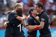 Paul Collingwood and Kevin Pietersen of England celebrate at the end of the semi final of the ICC World Twenty20  between England and Sri Lanka at the Beausjour Cricket Ground on May 13, 2010 in Gros Islet, Saint Lucia.