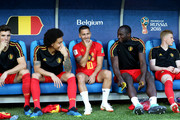 Belgium substitutes Axel Witsel, Eden Hazard, Romelu Lukaku and Kevin De Bruyne look on prior to the 2018 FIFA World Cup Russia group G match between England and Belgium at Kaliningrad Stadium on June 28, 2018 in Kaliningrad, Russia.