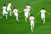 Kieran Trippier of England celebrates with teammates after scoring his team's first goal during the 2018 FIFA World Cup Russia Semi Final match between England and Croatia at Luzhniki Stadium on July 11, 2018 in Moscow, Russia.