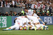 Kieran Trippier of England celebrates with team matesafter scoring his team's first goal  during the 2018 FIFA World Cup Russia Semi Final match between England and Croatia at Luzhniki Stadium on July 11, 2018 in Moscow, Russia.