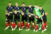 Croatia pose gfor a team photo prior to the 2018 FIFA World Cup Russia Semi Final match between England and Croatia at Luzhniki Stadium on July 11, 2018 in Moscow, Russia.