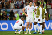 Ashley Young, Harry Maguire, Harry Kane, Danny Welbeck, Fabian Delph of England look dejected after the 2018 FIFA World Cup Russia Semi Final match between England and Croatia at Luzhniki Stadium on July 11, 2018 in Moscow, Russia.