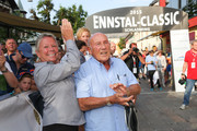 Sir Stirling Moss (R) and his wife Susie (L) at the finish area at the Ennstal Classic 2015 on July 17, 2015 in Schladming, Austria.