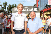 Sir Stirling Moss (R) and Brendon Hartley (L) at the finish area at the Ennstal Classic 2015 on July 17, 2015 in Schladming, Austria.
