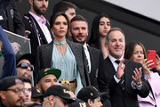 David Beckham and Victoria Beckham before the game between the Inter Miami CF and the Los Angeles FC at Banc of California Stadium on March 01, 2020 in Los Angeles, California.