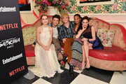 "(L-R) Kiernan Shipka, Gavin Leatherwood, Ross Lynch, Jaz Sinclair, and Michelle Gomez attend a screening of the ""Chilling Adventures of Sabrina: Part 2"", hosted by Entertainment Weekly and Netflix, at the Roxy Hotel on April 03, 2019 in New York City."