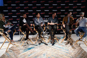 (L-R) Entertainment Weekly's Lynette Rice speaks to actors James Wolk, Joel de la Fuente, Jason Lewis, Josh Dallas and Josh Bowman at Entertainment Weekly's Brave Warriors panel during New York Comic Con on October 7, 2018 in New York City.