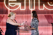 Julie Plec (L) and Winner of the 'EMA Futures Award' Nina Dobrev speak onstage during the Environmental Media Association 2nd Annual Honors Benefit Gala at Private Residence on September 28, 2019 in Pacific Palisades, California.