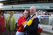 Trainer John Thompson and Jockey Blake Shinn after winning the Coolmore Flight Stakes during Sydney Racing at Royal Randwick Racecourse on October 4, 2014 in Sydney, Australia.