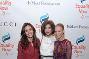 """Global Executive Director of Equality Now, Yasmeen Hassan (C) poses with Honorees Brisa De Angulo, Founder and CEO of A Breeze of Hope (L) and Susan Chokachi, President and CEO of Gucci as Equality Now celebrates 25th Anniversary at """"Make Equality Reality"""" Gala at Gotham Hall on October 30, 2017 in New York City."""