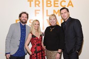 """(L-R) Director Drake Doremus; Chief Brand Officer, AT&T Fiona Carter; Senior Executive Vice President and Global Marketing Officer, AT&T Inc. Lori Lee; and actor Nicholas Hoult attend """"Equals"""" Red Carpet Premiere Night during Tribeca Film Festival at BMCC John Zuccotti Theater on April 18, 2016 in New York City."""