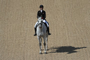 Colleen Loach of Canada riding Qorry Blue d'Argouges  competes in the Eventing Team Dressage event  during equestrian on Day 2 of the Rio 2016 Olympic Games at the Olympic Equestrian Centre on August 7, 2016 in Rio de Janeiro, Brazil.