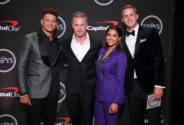 The 2019 ESPYs - Inside [event,suit,premiere,brand,carpet,espys - inside,l-r,california,los angeles,microsoft theater,patrick mahomes,lilly singh,jared goff,eric dane]