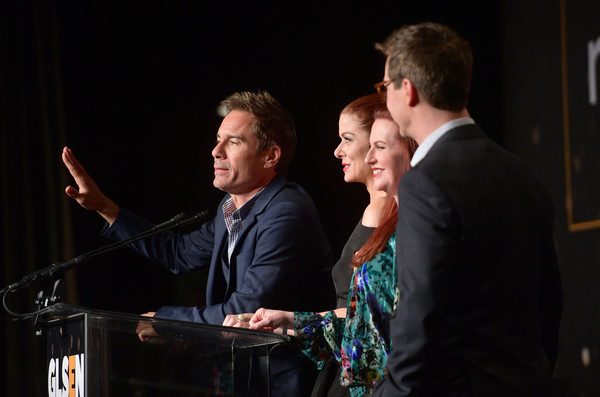 GLSEN Respect Awards – Los Angeles - Inside [event,performance,musician,music,conversation,stage,convention,singing,glsen respect awards,l-r,los angeles,beverly hills,california,beverly wilshire four seasons hotel,sean hayes,megan mullally,eric mccormack,debra messing]