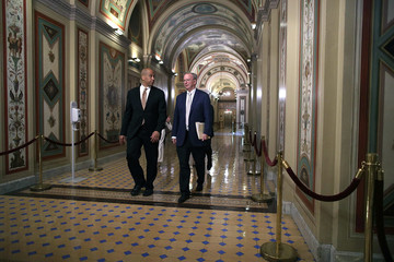 Eric Schmidt Google Chairman Eric Schmidt Meets With Sen. Cory Booker on Capitol Hill