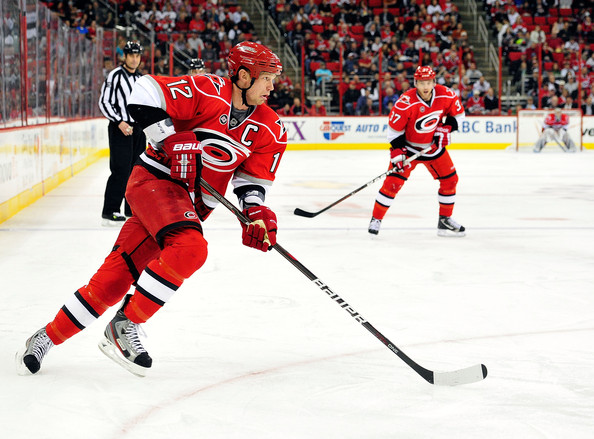 Eric Staal Eric Staal #12 of the Carolina Hurricanes moves the puck against the Anaheim Ducks at the RBC Center on February 23, 2012 in Raleigh, North Carolina.