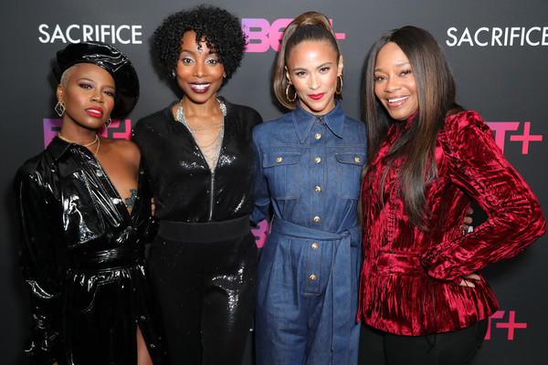 """BET+ And Footage Film's """"Sacrifice"""" Premiere Event At The Landmark Theater In Los Angeles [fashion,beauty,event,hairstyle,fashion design,model,premiere,performance,style,black hair,erica ash,paula patton,v. bozeman,connie orlando,l-r,los angeles,landmark theatre,california,bet and footage films ``sacrifice premiere event at the landmark theater]"""