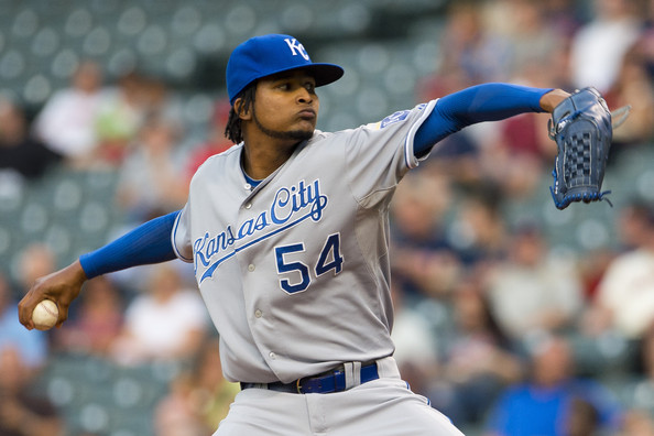 Starting pitcher Ervin Santana #54 of the Kansas City Royals pitches during the first inning against the Cleveland Indians at Progressive Field on September 9, 2013 in Cleveland, Ohio.
