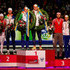 (L-R) Olga Graf of Russia, Jan Blokhuijsen of the Netherlands (2nd place) , Ireen Wust and Koen Verweij both of The Netherlands (1st place) and  Denis Yuskov of Russia and Yvonne Nauta of the Netherlands (3rd place) pose on the podium as the final six in the overall standings during day two of the Essent ISU World Allround Speed Skating Championships at the Thialf Stadium on March 23, 2014 in Heerenveen, Netherlands.