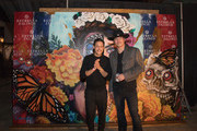Robert Rodriguez (R) and Theo Rossi pose at Estrella Jalisco's Day of the Dead celebration at Rodriguez's Troublemaker Studios on November 2, 2018 in Austin, Texas.