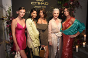 (L-R) Montana Cox, Chanel Iman, Georgia Fowler, Maye Musk and Candice Huffine attend the Etihad Airways cocktail party during NYFW: The Shows at Spring Studios on September 10, 2019 in New York City.