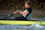 James Cracknell of Cambridge University Men's Boat Club (centre) is pictured at a Cambridge University Boat Club training session during The Boat Race Tideway Week on April 05, 2019 in London, England.