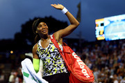Venus Williams of USA thanks the crowd after winning her round of 16 match against Lauren Davis of USA at the ASB Classic on January 03, 2019 in Auckland, New Zealand.