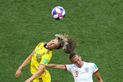 Lina Hurtig of Sweden competes for a header with Jill Scott of England during the 2019 FIFA Women's World Cup France 3rd Place Match match between England and Sweden at Stade de Nice on July 06, 2019 in Nice, France.